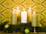 advent backgrounds pillar candles in green