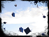 grad caps tossed in air