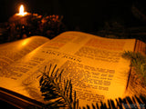 christmas background open bible candle light