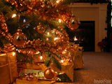christmas background christmas tree and cozy fire
