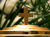 communion plate with gold cross background