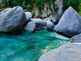 beautiful teal water before the water fall
