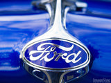 closeup of classic ford truck emblem