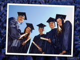 five graduates in framed photo with diplomas
