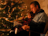 christmas background grandfather reading the christmas story