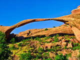 blue skies over landscape arch Arches National Park
