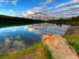 mirror reflection of mount rundle