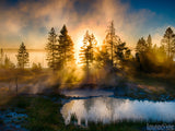 sun shines through fog background summer misty dawn