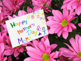 pink flowers and card happy mothers day mom