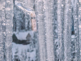 winter background of silver icicles