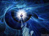 blue artistic background with statue of liberty
