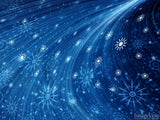 christmas color swirling snowflakes on blue background