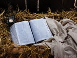 christmas background bible on hay the prophecy fulfilled