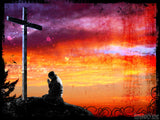 easter vintage sunset cross and man praying orange background