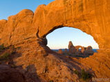 view of turret arch through window arch