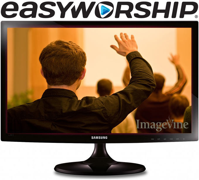 EasyWorship 6 logo monitor with worship background