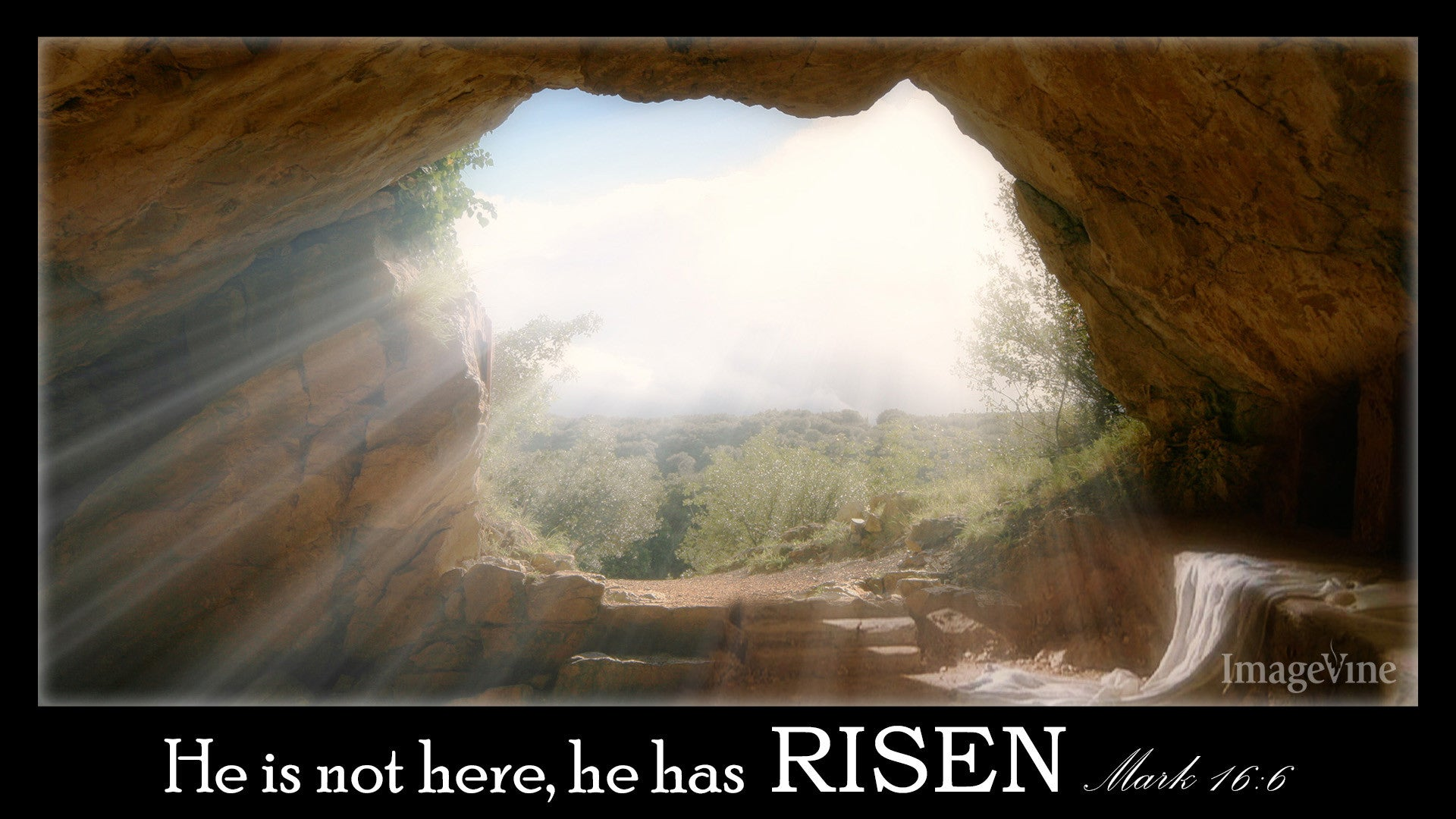 empty tomb, open, easter Sunday, he has risen, quote, background, powerpoint