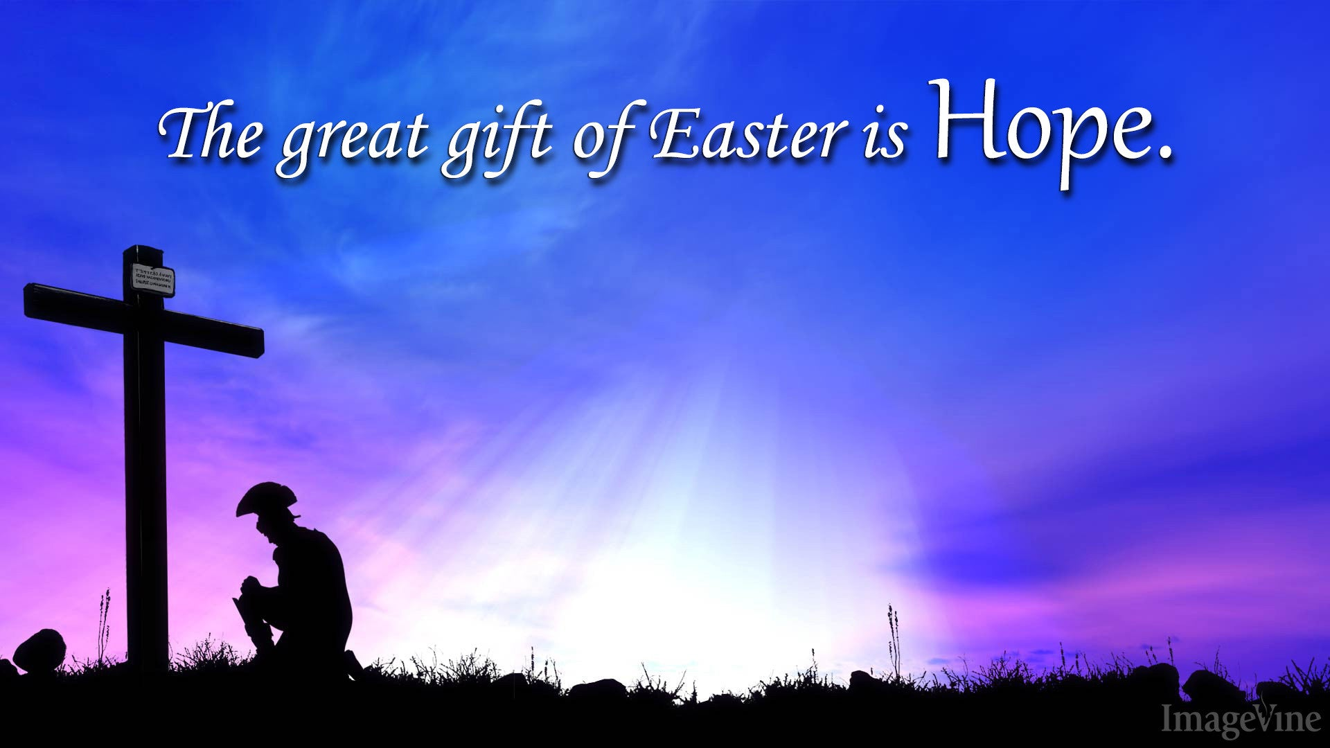 Easter Sunday Soldier Kneeling Cross Background Christian Free Quote
