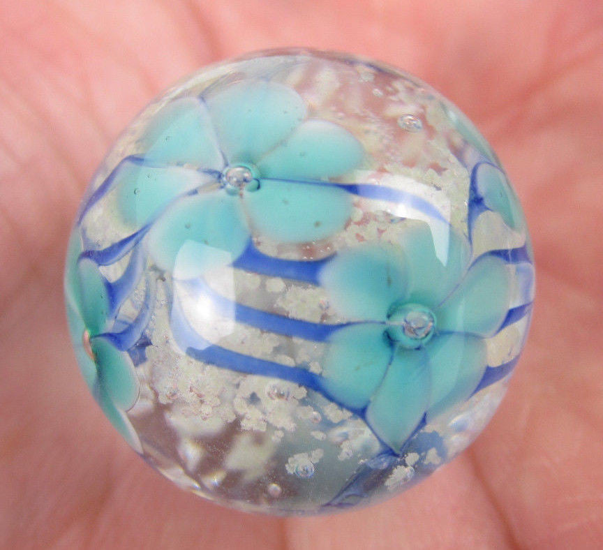 ASTER Handmade Art Glass Collector Marble~22mm~Glow in the Dark