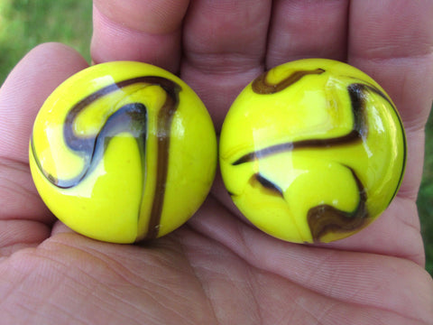 2 BUMBLE BEE glass Marbles~35mm Boulders