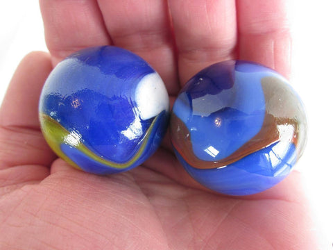 2 BLUE DOLPHIN Glass Marbles~35mm Boulders