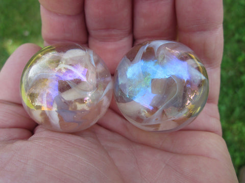 2 PINK FAIRY Glass Marbles~35mm Boulders