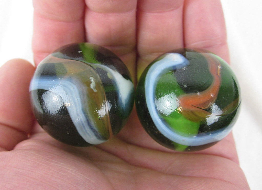 2 JUNGLE Glass Marbles~35mm Boulders