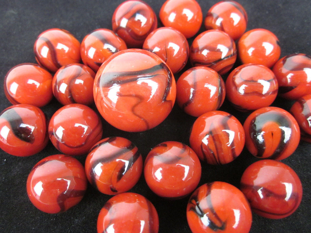 25 LADY BUG Glass Marbles