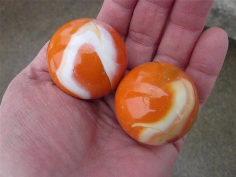 "2 ORANGE CREME Glass Marbles~1 5/8"" Mammoths"