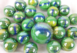 25 PEACOCK Glass Marbles