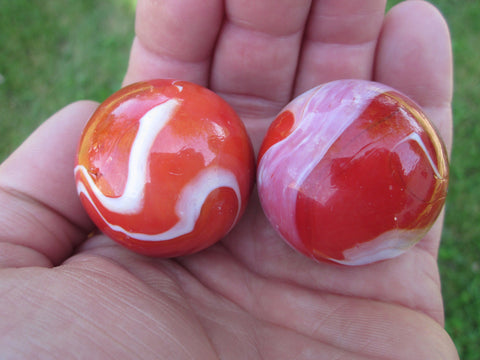 2 RED BEARD Glass Marbles~35mm Boulders