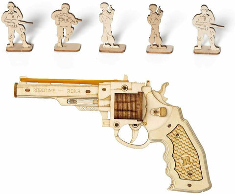 357 REVOLVER Rubber Band Gun Pistol Wood Model Kit ROKR 3D Puzzle