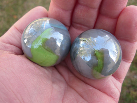 2 THUNDERBOLT Glass Marbles~35mm Boulders