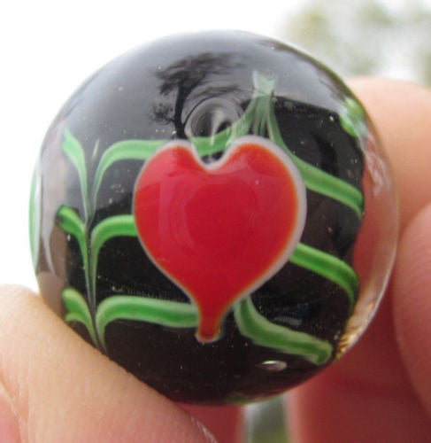 VALENTINE Handmade Art Glass Collector Marble~22mm