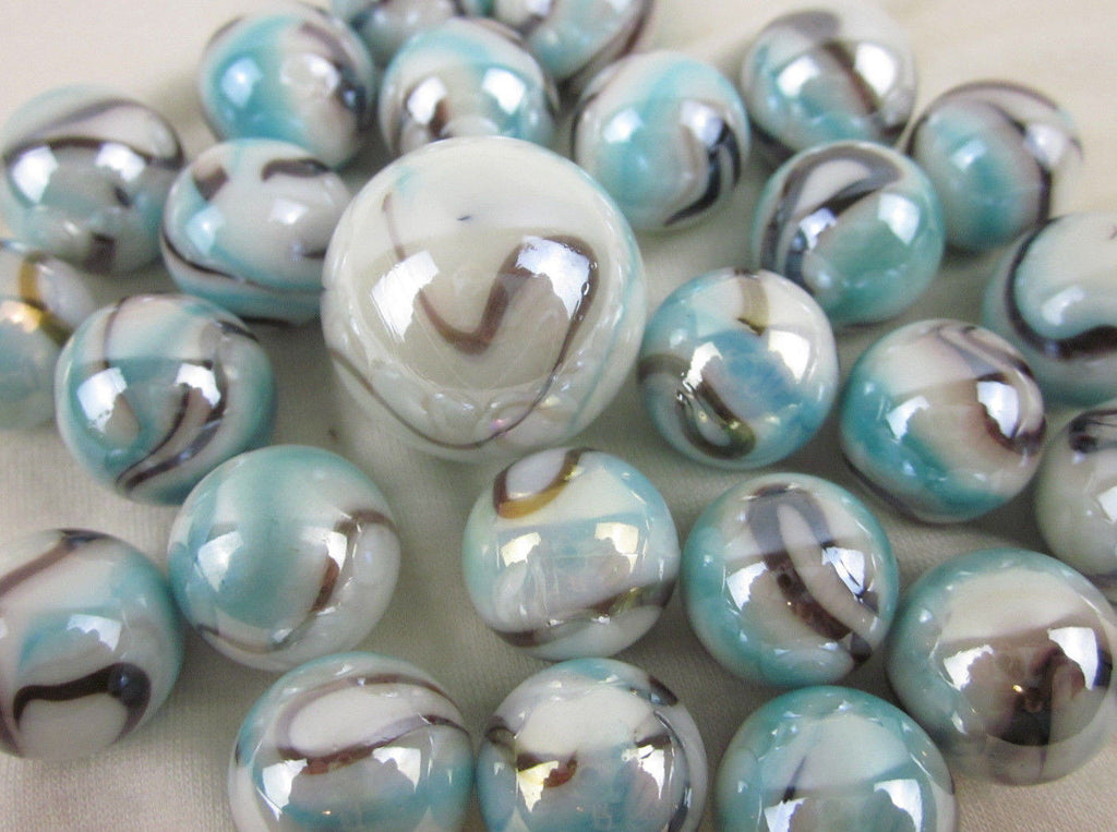 25 WHITE TIGER Glass Marbles