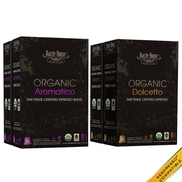 Barrie House Organic Fair Trade Espresso Mixed Pack 40 ct: Aromatico / Dolcetto