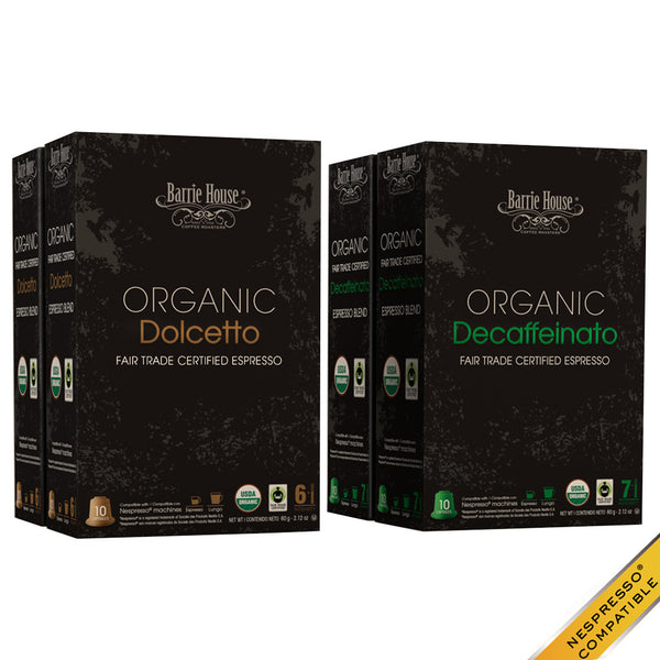 Barrie House Organic Fair Trade Espresso Mixed Pack 40 ct: Dolcetto / Decaffeinato