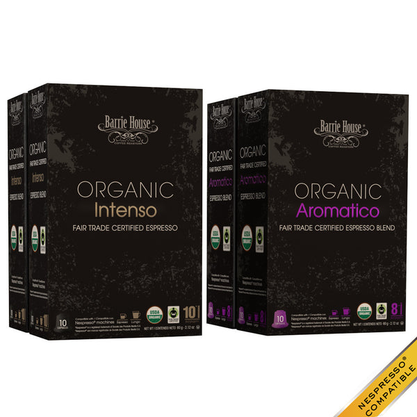 Barrie House Organic Fair Trade Espresso Mixed Pack 40 ct: Intenso / Aromatico
