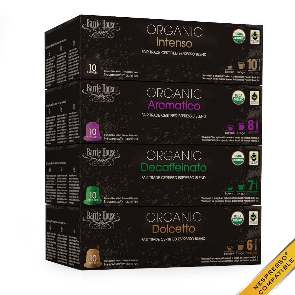 Barrie House Organic Fair Trade Espresso Blends Variety Pack 40 ct