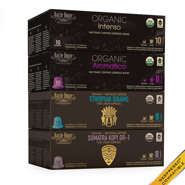 Barrie House Organic Fair Trade Espresso Dark Roast Variety Pack 40 ct