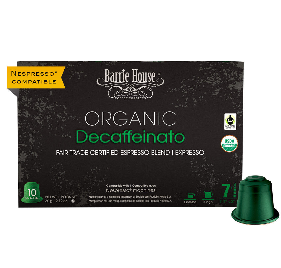 Barrie House Organic Fair Trade Decaffeinato Espresso Capsules 10 ct