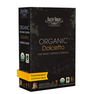 Barrie House Organic Fair Trade Dolcetto Espresso Capsules 16/10 ct Comparable to Nespresso Livanto