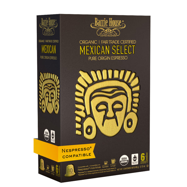 Barrie House Fair Trade Organic Mexican Select Espresso Capsules 16/10 ct Nespresso Compatible