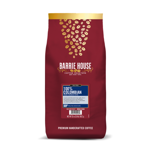 100% Colombian<br>Single Origin Coffee<br>2 lb Bag - Whole Bean