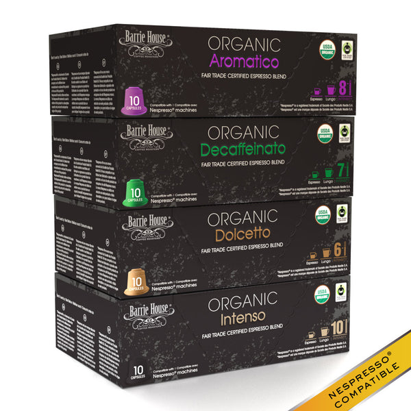 Barrie House Organic Fair Trade Espresso Blends Variety Pack 80 ct