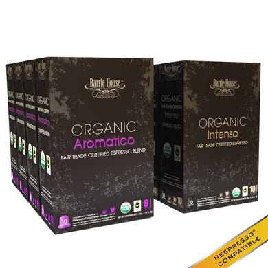 Barrie House Organic Fair Trade Espresso Mixed Pack Capsules 160 ct: Intenso / Aromatico