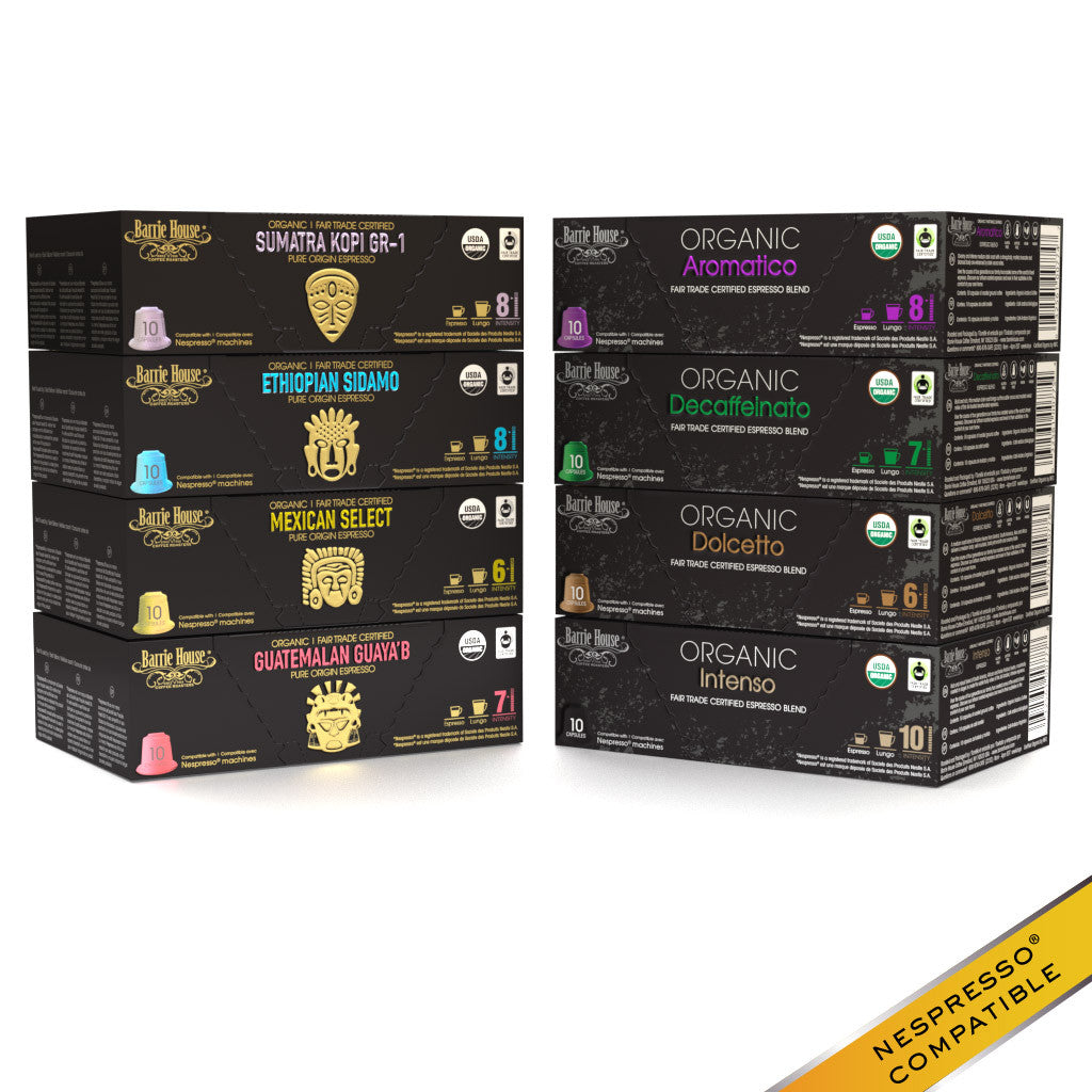 Barrie House Organic Fair Trade Espresso Lovers Variety Pack 80 ct