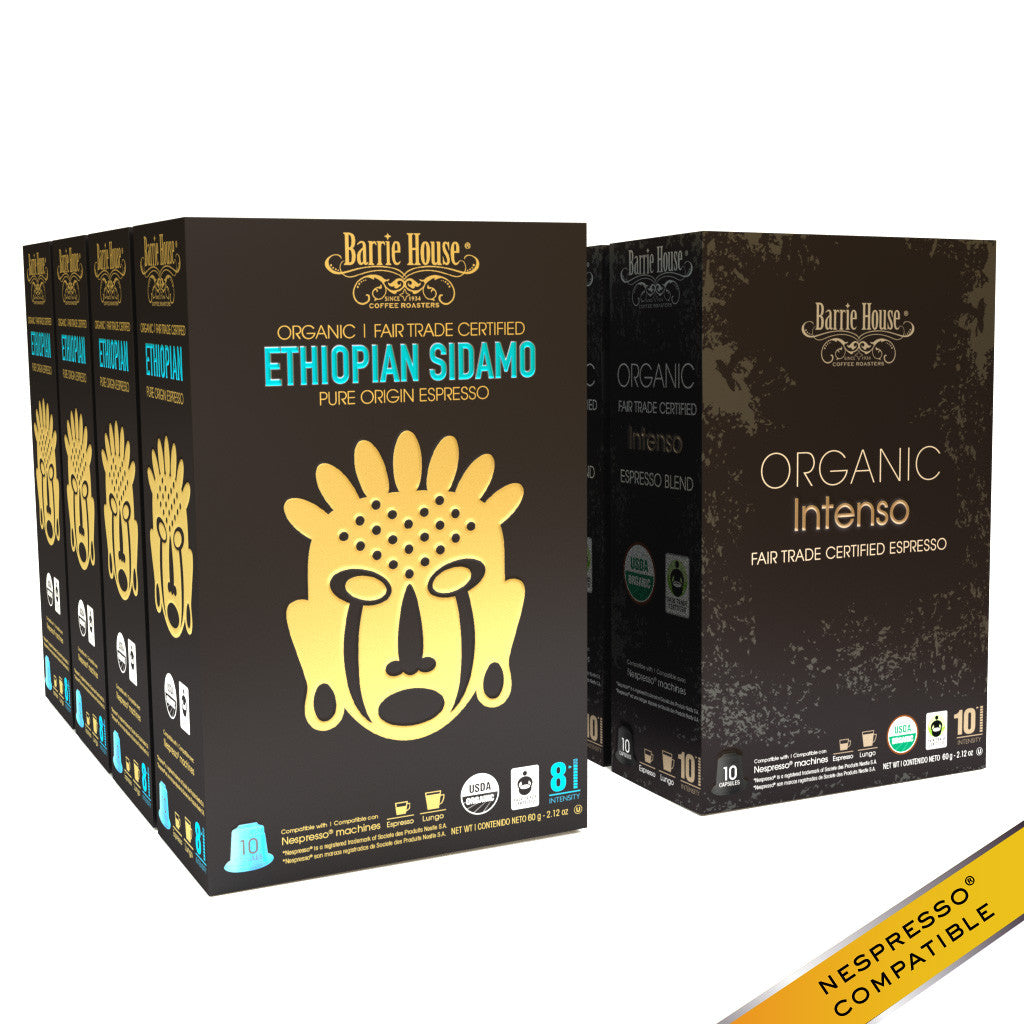 Barrie House Organic Fair Trade Espresso Mixed Pack Capsule160 ct: Intenso / Ethiopian
