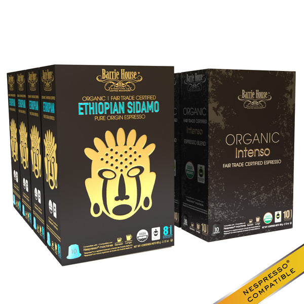 Barrie House Organic Fair Trade Espresso Mixed Pack Capsules 80 ct: Ethiopian / Sumatra