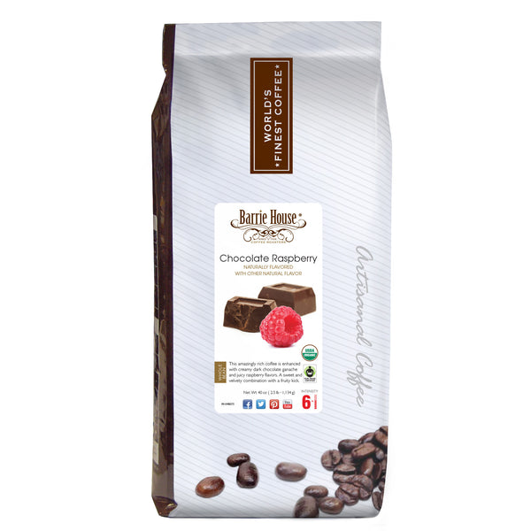 Barrie House Fair Trade Organic Chocolate Raspberry 2.5 lb Whole Bean